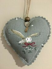 SOPHIE ALLPORT HANDMADE FABRIC RUSTIC NIGHT OWL HANGING HEART DECORATION