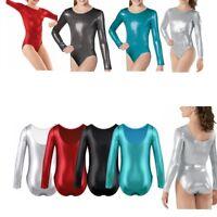 Kids Girls Metallic Leotard Unitard Swimsuit Gymnastic Ballet Uniform Dancewear