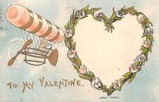 VALENTINE CUPID ZEPPELIN BLIMP AVIATION CIGAR HOLD TO LIGHT HTL POSTCARD 1910