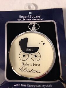 2017 REGENT SQUARE BABY'S FIRST CHRISTMAS ORNAMENT WITH FINE EUROPEAN CRYSTALS