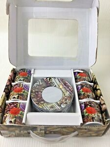 Set of 6 Espresso Cups and Saucers New in Box Ceramic Floral Coffee Bean W526