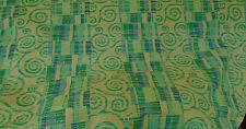 12 metres Quality Heavy Linen Weave Green Swirl Design Cascade