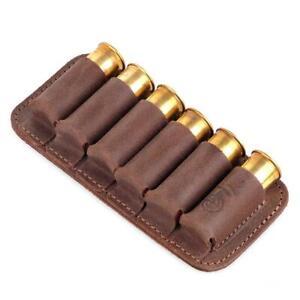 Shotgun Holder Pouch 6 Shells Genuine Leather Cartridge 12/16 GA Ammo Hunting