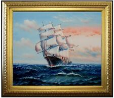Framed, Sailing Ship 19, Quality Hand Painted Oil Painting 20x24in