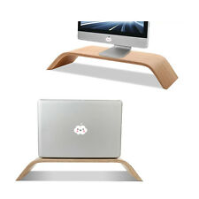 Wood Bamboo Computer Monitor Riser Stand Dock Holder For iMac Notebook Laptop PC