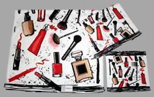 3-Pc Make-Up Brushes Mascara Lipstick Perfume Fingernail Polish Velour Towel Set