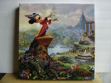 Thomas Kinkade Disney Mickey Mouse Fantasia Wrapped Canvas 14X14 Picture W/Coa