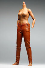 gc0150 Brown leather slim fit fashion pants for 1/6 female action figure