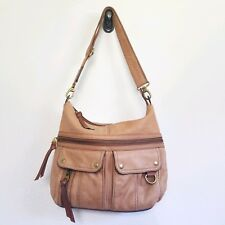 FOSSIL Bag Morgan Large Tan Camel Brown Leather Messenger Crossbody Hobo Soft