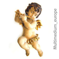 Holz Figur Putto Engel Quer flöte Schnitzerei vintage wood figure carved