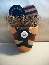 4th of July Clay Pot Centerpiece Shelf Americana Patriotic Wooden Heart Flag 5""