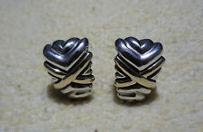 "Designer RIGOBERTO 925 Sterling 14K  Criss Cross Clip On Earrings 1-1/8"" Long"