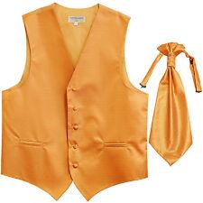 New men's tuxedo vest waistcoat & ascot horizontal stripes prom gold