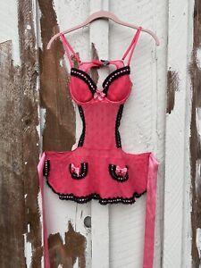 Victoria Secret Lingerie 34B Apron With Push Up Bra Ribbon Lace Pink Black Dots