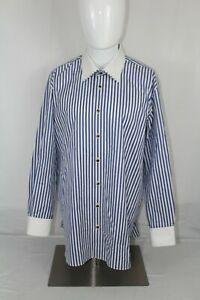 Mint GERLIN Limited Edition 17 / 43 White Blue Striped Cotton Italy Dress Shirt