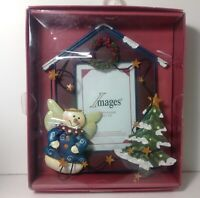 """Images Holiday Photo Frame 3D Snowman Wings Christmas Tree Wreath 3.5"""" X 5"""""""