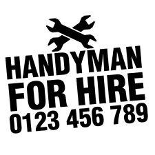 CUSTOM TEL NUMBER HANDYMAN FOR HIRE CAR VAN STICKER Decal Car Vinyl Personali...