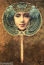 Art Nouveau Poster/Gouache painting by Louis Welden 1905/Lady in Mirror/Repro.