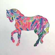 New Horse pillow made with LILLY PULITZER Fan Sea Pants fabric