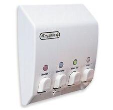Bathroom Shower 4 Chamber Liquid Soap Dispenser Pump Shampoo Conditioner Wall