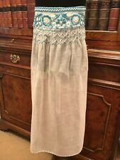Vintage Childs' Handmade Ivory & Blue Embroidered Pinny Apron