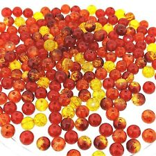 "Mix Crackle Glass Round Beads 6mm ""Fire Mix"" Approx 200 beads (crrd06mx-fire)"