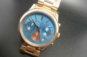 New Old Stock MICHAEL KORS Runway MK6164 Chronograph RoseGold Quartz Women Watch