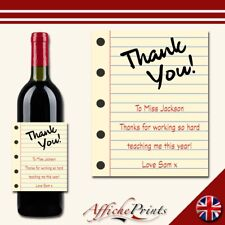 L147 Personalised Teacher Thank You School Notepad Style Custom Bottle Label