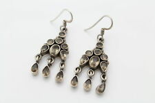 Sterling Silver Smokey Quartz Bezel Cluster Teardrop Dangle Earrings