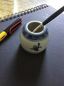 Antique Chinese Ink Well Brush Pot Small Vase 1940s Manufacture White Blue