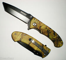 """7 3/4"""" Black Tanto Blade Assisted Opening Green Camo Handle Pocket Knife"""