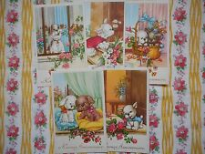 Five, set unused vintage French 'Happy Birthday' postcards - cute dogs, puppies