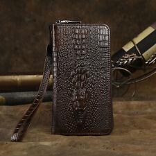 Retro Mens Genuine Leather Clutch Long Wallet Purse Card Case Wrist Handbag
