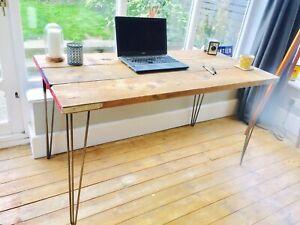 Reclaimed Wood Desk Scaffolding Vintage Hairpin Legs