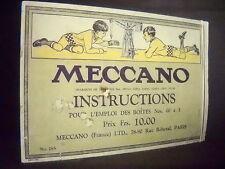 "Catalogue ""MECCANO"" N°28A INSTRUCTIONS BOITES N° 00 à 3 Jouet Constrution ca1920"