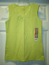 WHITE STAG Lace Trim Sleeveless Tank Cami Top Lime Green Pomcit Size S NWT
