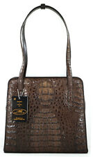 100% GENUINE CROCODILE LEATHER HANDBAG SHOULDER BAG TOTE BROWN NEW