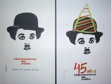 Set of 2 CUBA Silkscreen Art Posters Saluting Charlie Chaplin + Cuban Movies