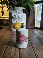 VINTAGE Signed SPRAY Pump ATOMIZER PERFUME BOTTLE MADE IN GERMANY Porcelain Rose