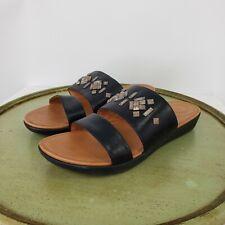 FitFlop Delta Black Leather Slide Crystal Embellished Comfort Sandal Sz US 9