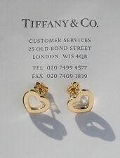TIFFANY & Co 18 CARATS 18K or chaînon en forme de coeur boucles d'oreilles