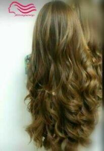 100% Human Hair New Fashion Beautiful Women's Long Light Brown Curly Full Wigs