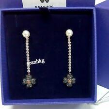 Swarovski 5516426 Latisha Pierced Earrings, Black Crystal Pearl ROS Flower Long