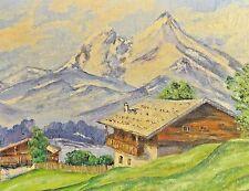 Monogrammist HB - ALPEN-Gemälde 1947: BERGHOF BEI BERCHTESGADEN MIT WATZMANN