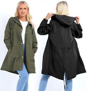 Womens Rain Mac Longline Ladies Black Raincoat Jacket Khaki Size 10 12 14 16 8