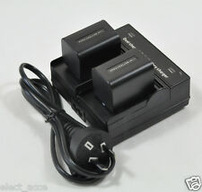 2x 3A Battery+Dual Charger fr Sony NP-FH70 NP-FH30 FH40 NP-FH50 NP-FH60 NP-FH100