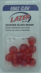 Eagle Claw LBEADRED10 Red Faceted 10mm Glass Bead10CT 22217