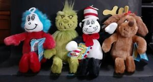 """(4) Dr. Seuss dolls, Thing 1, Grinch, Cat in the Hat, Thidwick,  8"""", New, w/Tags"""
