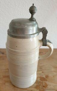 18 Jhd. Antik Bierkrug Steinkrug Humpen Steingut mit Zinndeckel Bier Krug 25x10