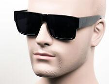 Large Square Cholo Sunglasses Super Dark OG LOC Style Gangster Black Glossy ST1